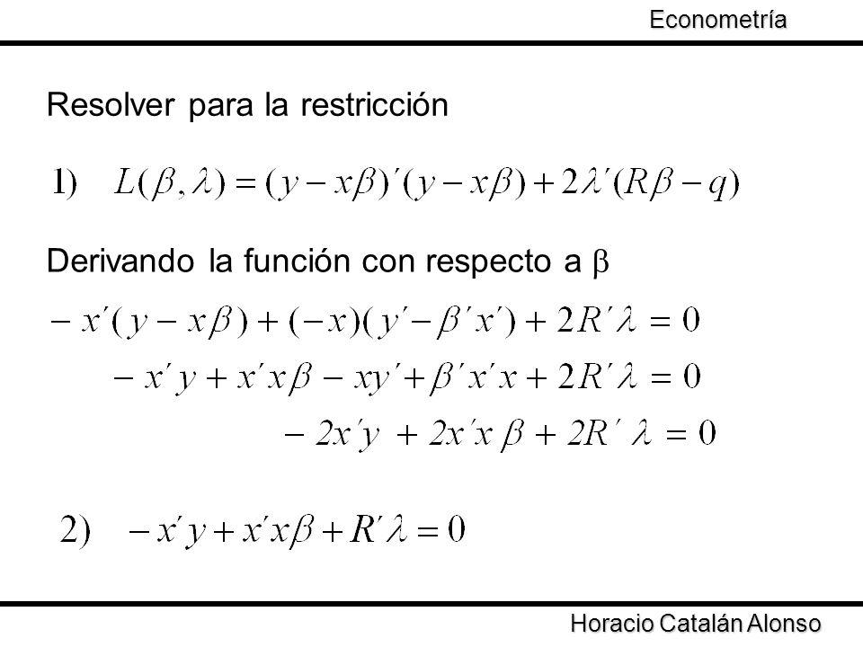 Taller de Econometría Horacio Catalán Alonso Econometría Resolver para la restricción Derivando la función con respecto a