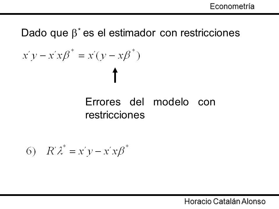 Taller de Econometría Horacio Catalán Alonso Econometría Dado que * es el estimador con restricciones Errores del modelo con restricciones