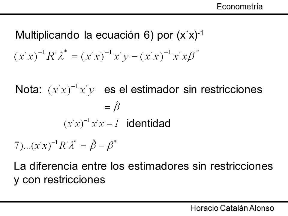 Taller de Econometría Horacio Catalán Alonso Econometría Multiplicando la ecuación 6) por (x´x) -1 Nota: es el estimador sin restricciones identidad L