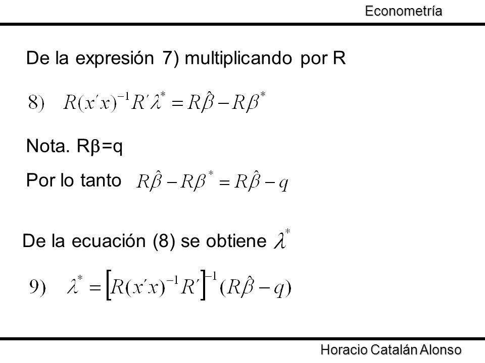 Taller de Econometría Horacio Catalán Alonso Econometría De la expresión 7) multiplicando por R Nota. R =q Por lo tanto De la ecuación (8) se obtiene