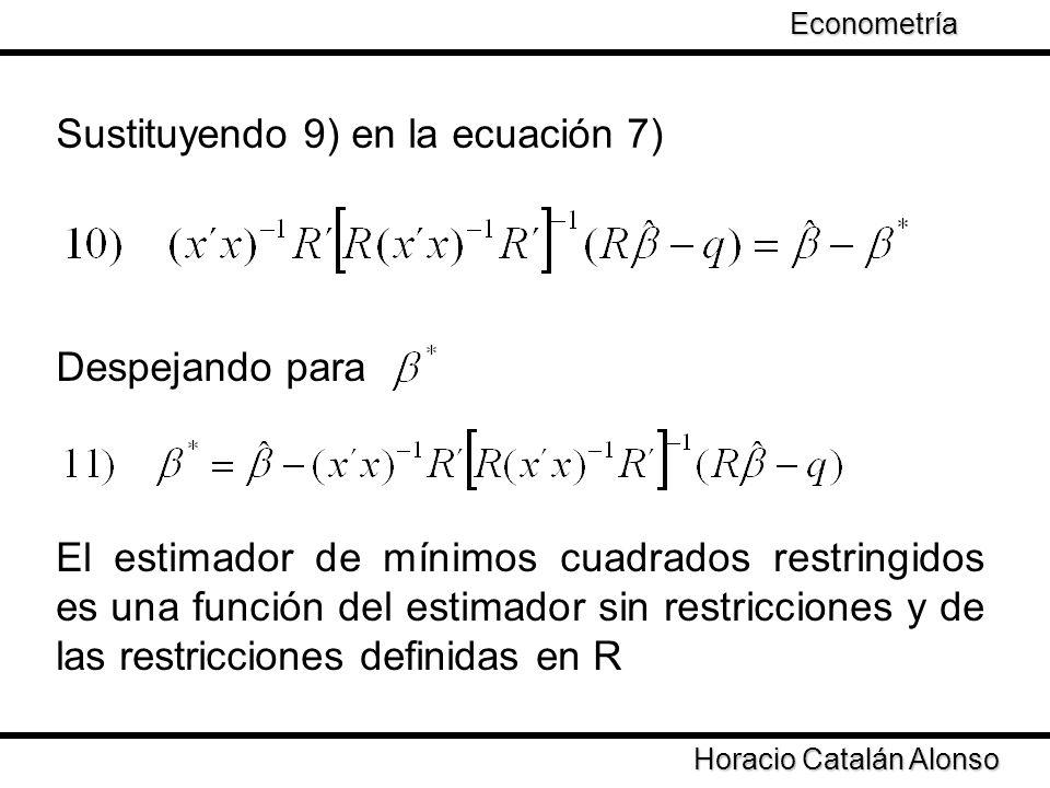 Taller de Econometría Horacio Catalán Alonso Econometría Sustituyendo 9) en la ecuación 7) Despejando para El estimador de mínimos cuadrados restringi