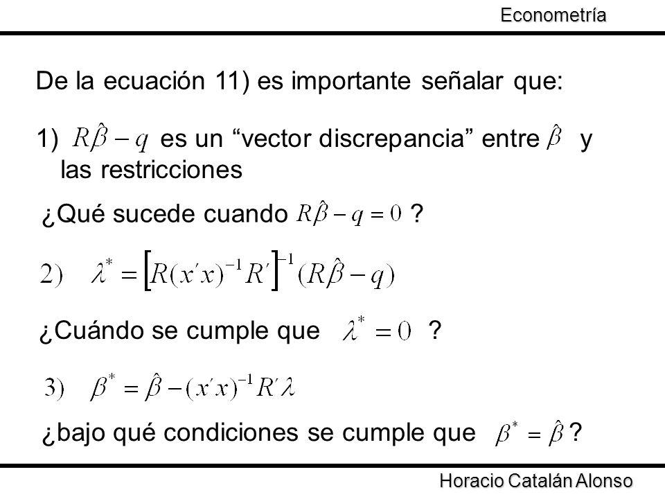 Taller de Econometría Horacio Catalán Alonso Econometría De la ecuación 11) es importante señalar que: 1) es un vector discrepancia entre y las restri