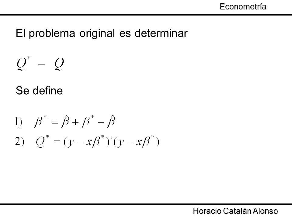 Taller de Econometría Horacio Catalán Alonso Econometría El problema original es determinar Se define