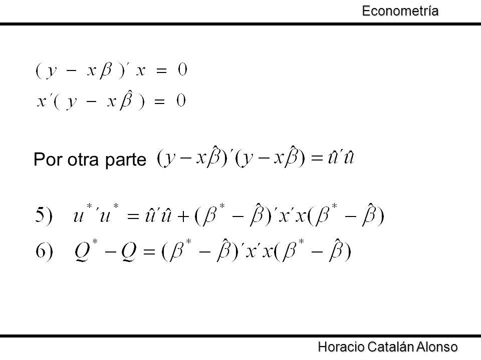 Taller de Econometría Horacio Catalán Alonso Econometría Por otra parte