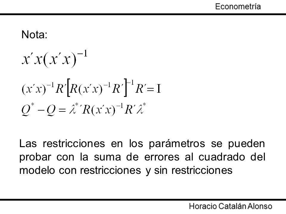 Taller de Econometría Horacio Catalán Alonso Econometría Nota: Las restricciones en los parámetros se pueden probar con la suma de errores al cuadrado