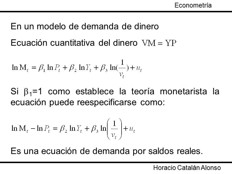 Taller de Econometría Horacio Catalán Alonso Econometría En un modelo de demanda de dinero Ecuación cuantitativa del dinero Si 1 =1 como establece la