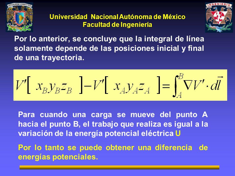 Universidad Nacional Autónoma de México Facultad de Ingeniería Por lo anterior, se concluye que la integral de línea solamente depende de las posiciones inicial y final de una trayectoria.