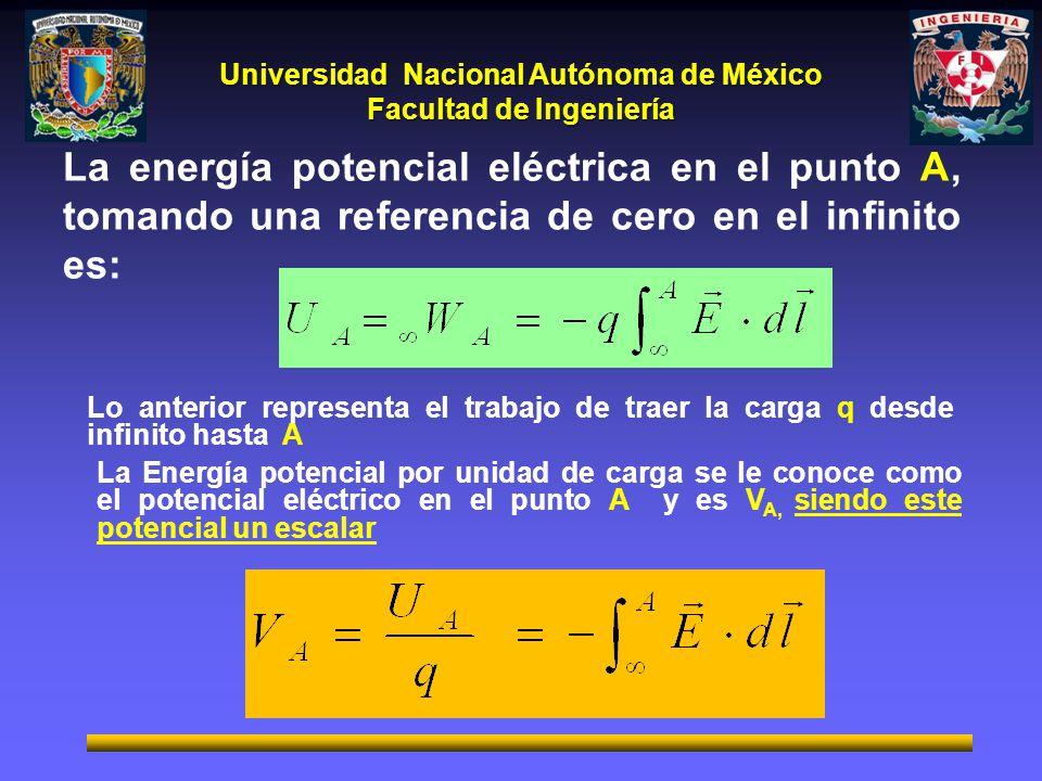 Universidad Nacional Autónoma de México Facultad de Ingeniería La energía potencial eléctrica en el punto A, tomando una referencia de cero en el infi