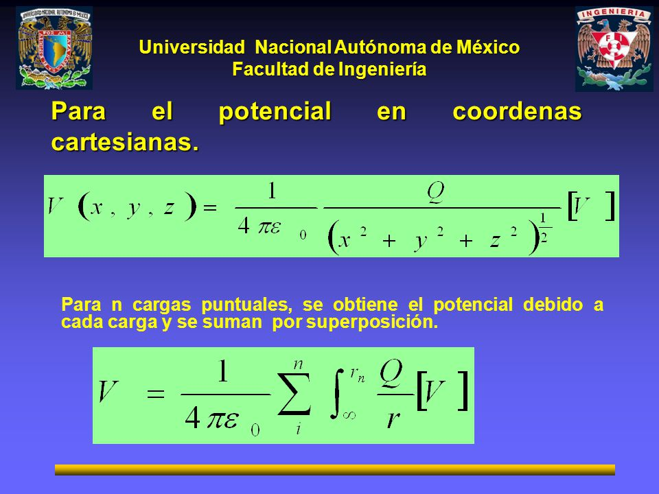 Universidad Nacional Autónoma de México Facultad de Ingeniería Para n cargas puntuales, se obtiene el potencial debido a cada carga y se suman por superposición.