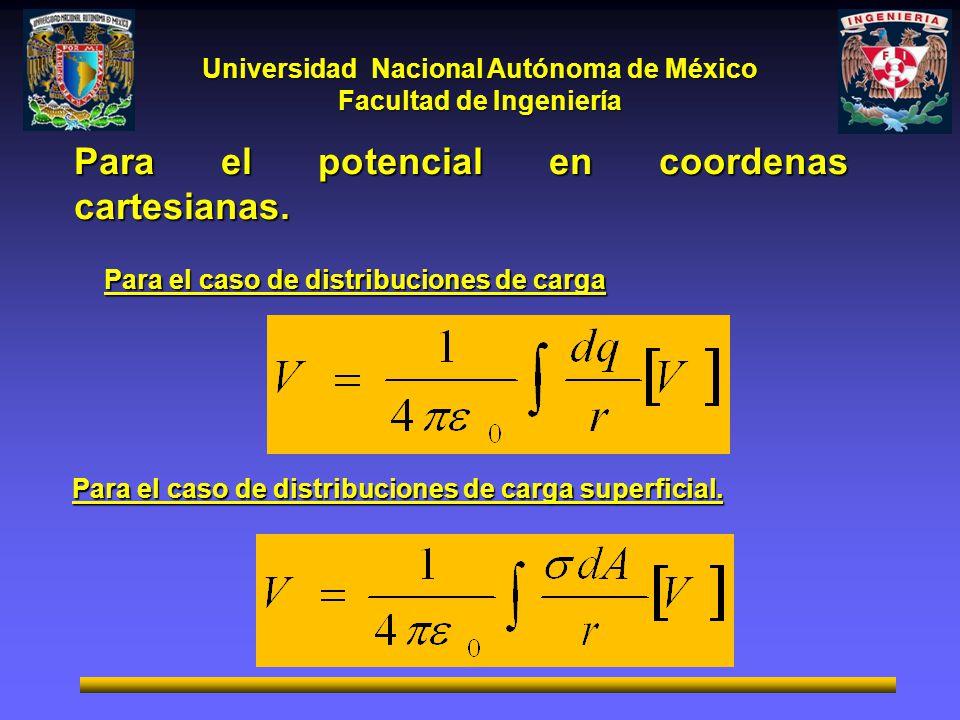 Universidad Nacional Autónoma de México Facultad de Ingeniería Para el caso de distribuciones de carga Para el caso de distribuciones de carga superfi