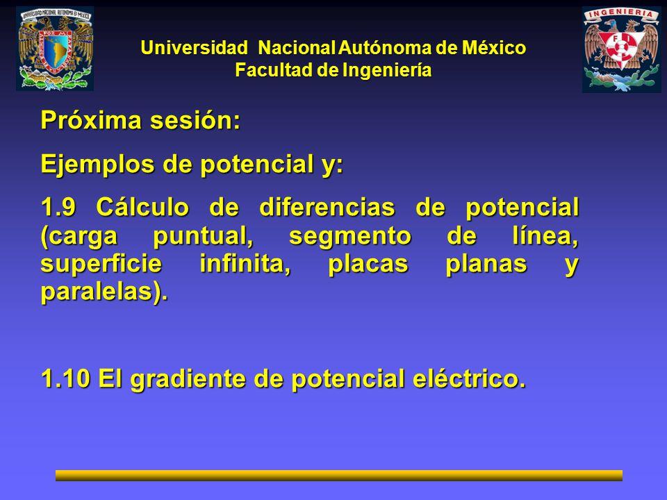 Universidad Nacional Autónoma de México Facultad de Ingeniería Próxima sesión: Ejemplos de potencial y: 1.9 Cálculo de diferencias de potencial (carga puntual, segmento de línea, superficie infinita, placas planas y paralelas).