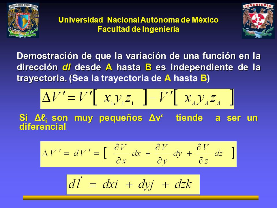 Universidad Nacional Autónoma de México Facultad de Ingeniería Demostración de que la variación de una función en la dirección dl desde A hasta B es i
