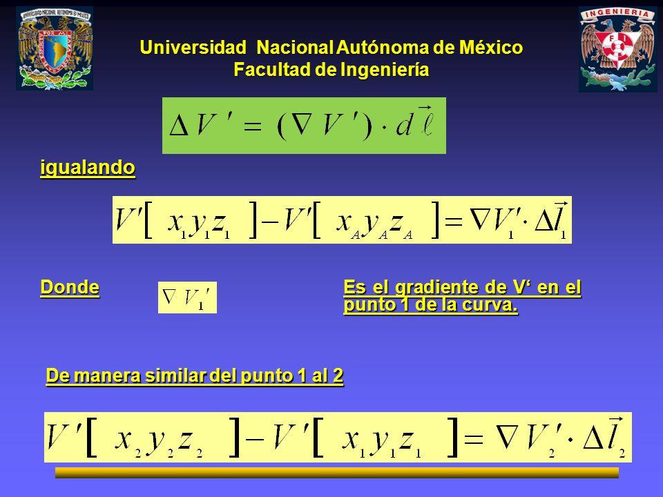Universidad Nacional Autónoma de México Facultad de Ingeniería igualando Donde De manera similar del punto 1 al 2 Es el gradiente de V en el punto 1 d
