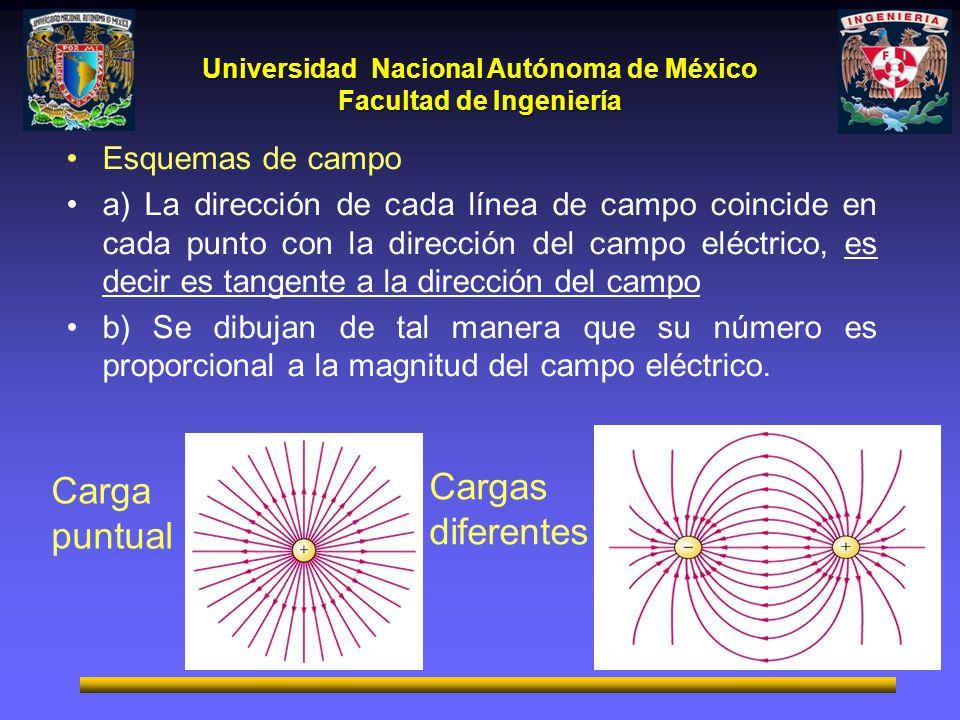 Universidad Nacional Autónoma de México Facultad de Ingeniería Esquemas de campo a) La dirección de cada línea de campo coincide en cada punto con la