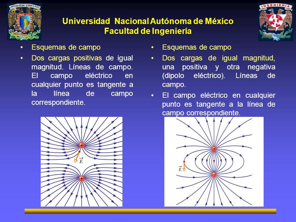 Universidad Nacional Autónoma de México Facultad de Ingeniería Esquemas de campo Dos cargas positivas de igual magnitud. Líneas de campo. El campo elé