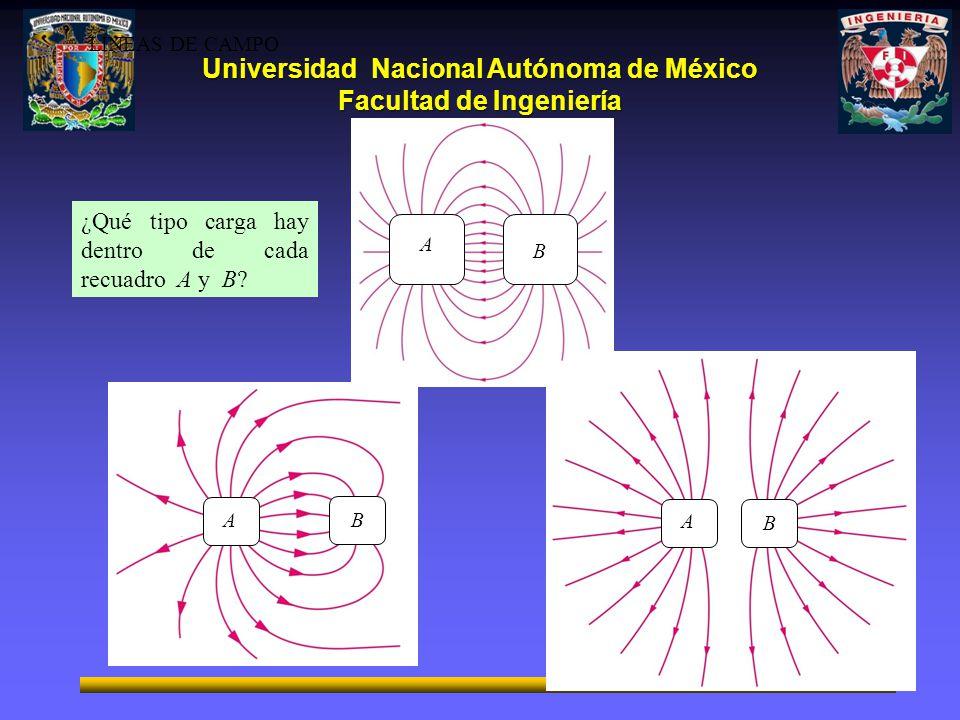 Universidad Nacional Autónoma de México Facultad de Ingeniería A B ¿Qué tipo carga hay dentro de cada recuadro A y B? A B B A LÍNEAS DE CAMPO