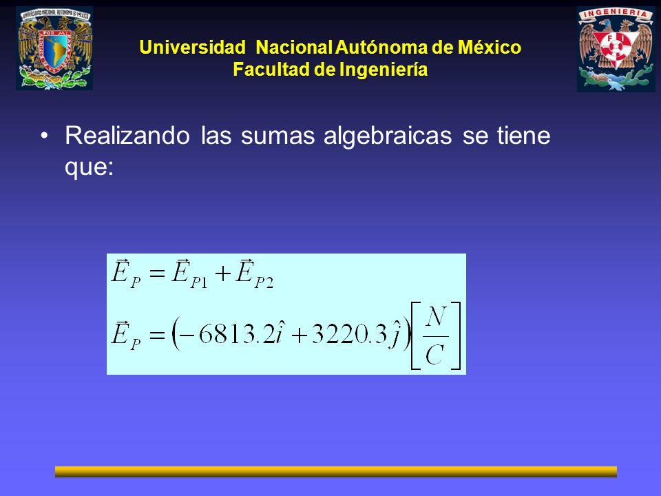 Universidad Nacional Autónoma de México Facultad de Ingeniería Realizando las sumas algebraicas se tiene que: