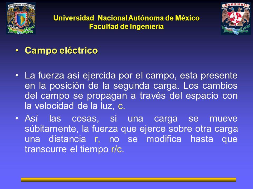 Universidad Nacional Autónoma de México Facultad de Ingeniería Campo eléctricoCampo eléctrico La fuerza así ejercida por el campo, esta presente en la