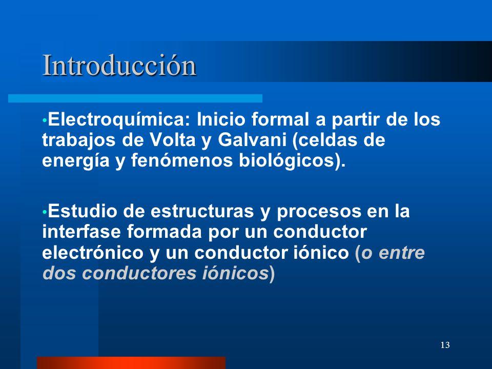 13 Introducción Electroquímica: Inicio formal a partir de los trabajos de Volta y Galvani (celdas de energía y fenómenos biológicos). Estudio de estru