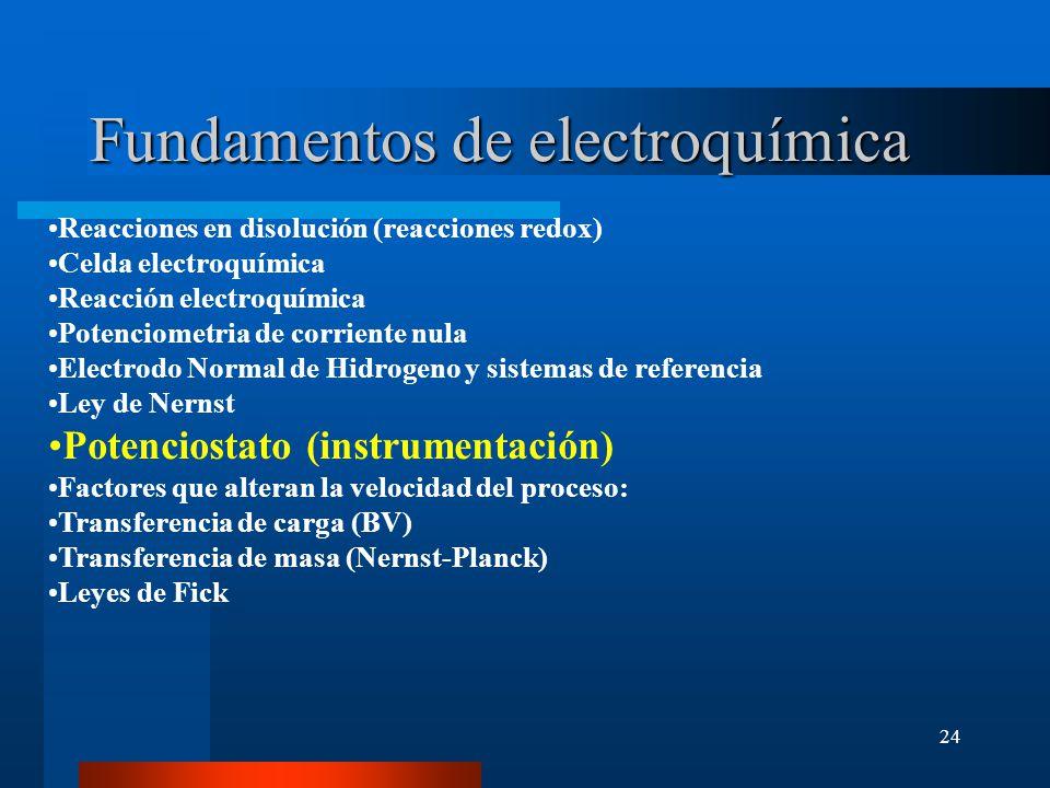 24 Fundamentos de electroquímica Reacciones en disolución (reacciones redox) Celda electroquímica Reacción electroquímica Potenciometria de corriente
