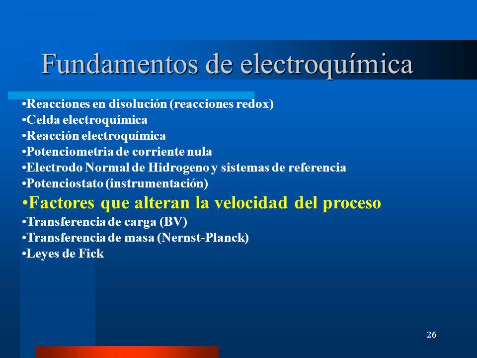 26 Fundamentos de electroquímica Reacciones en disolución (reacciones redox) Celda electroquímica Reacción electroquímica Potenciometria de corriente
