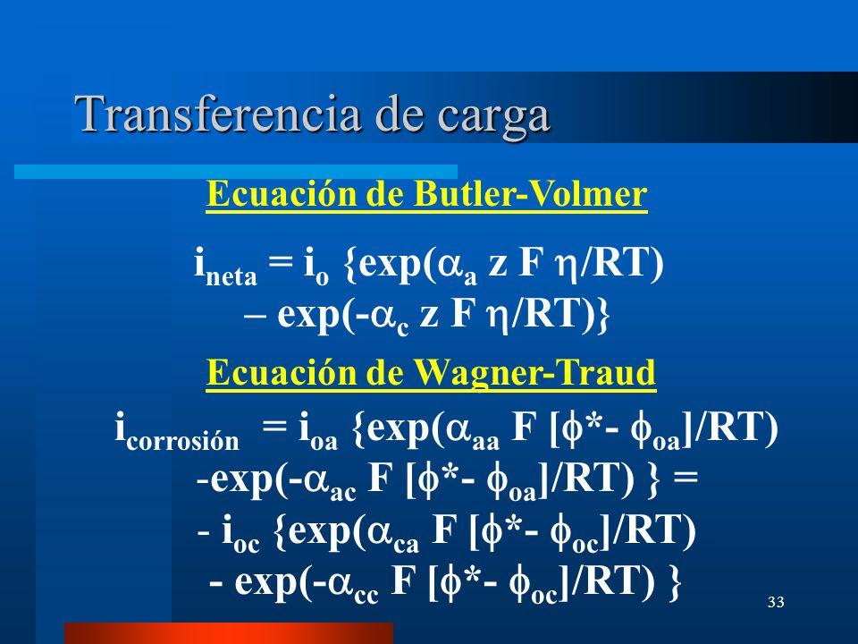 33 Transferencia de carga i corrosión = i oa {exp( aa F [ *- oa ]/RT) -exp(- ac F [ *- oa ]/RT) } = - i oc {exp( ca F [ *- oc ]/RT) - exp(- cc F [ *-