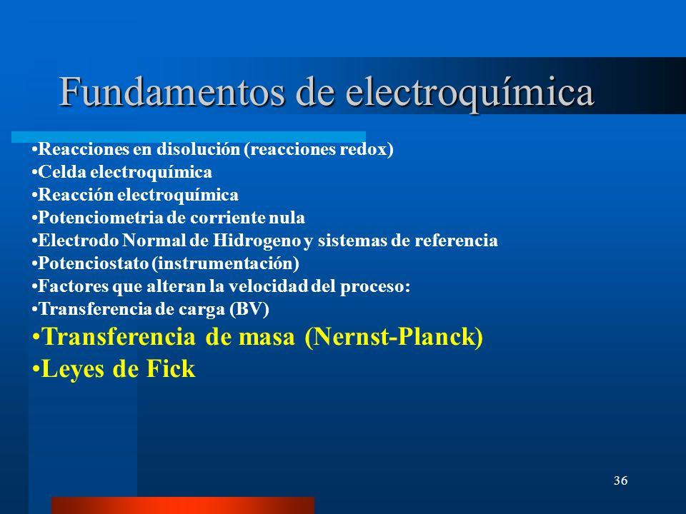 36 Fundamentos de electroquímica Reacciones en disolución (reacciones redox) Celda electroquímica Reacción electroquímica Potenciometria de corriente