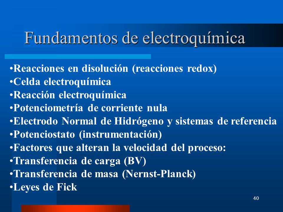 40 Fundamentos de electroquímica Reacciones en disolución (reacciones redox) Celda electroquímica Reacción electroquímica Potenciometría de corriente