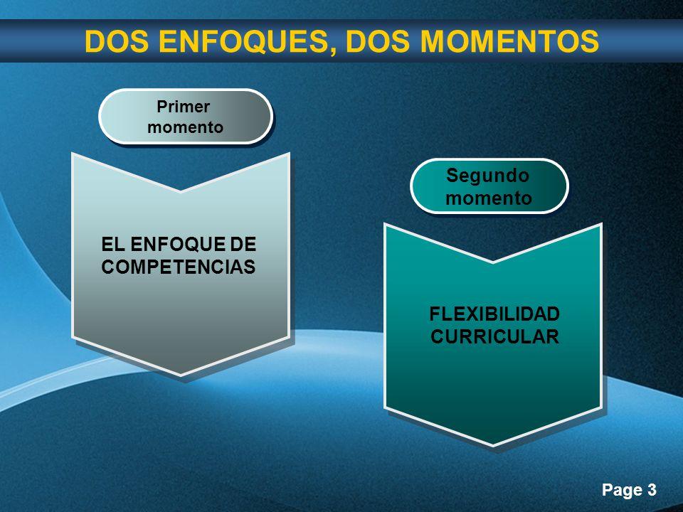 Page 3 Primer momento Primer momento Segundo momento Segundo momento DOS ENFOQUES, DOS MOMENTOS EL ENFOQUE DE COMPETENCIAS FLEXIBILIDAD CURRICULAR