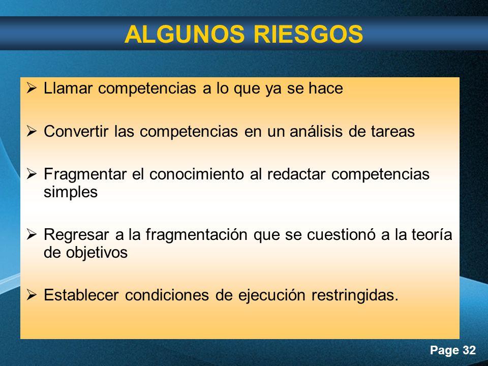 Page 32 Llamar competencias a lo que ya se hace Convertir las competencias en un análisis de tareas Fragmentar el conocimiento al redactar competencias simples Regresar a la fragmentación que se cuestionó a la teoría de objetivos Establecer condiciones de ejecución restringidas.