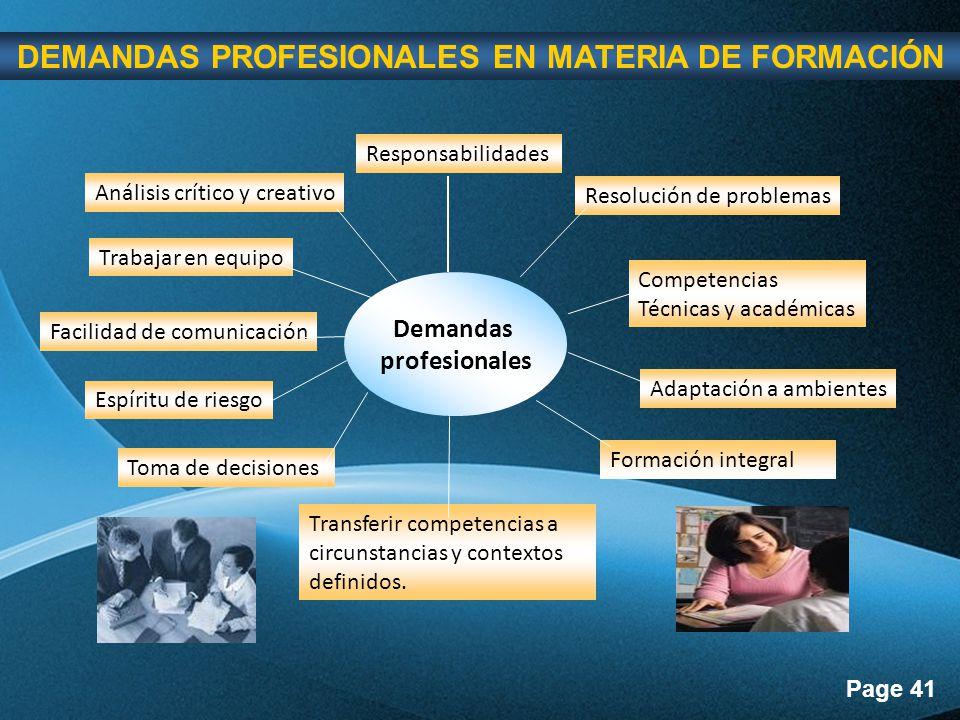 Page 41 Demandas profesionales Responsabilidades Resolución de problemas Competencias Técnicas y académicas Adaptación a ambientes Transferir competencias a circunstancias y contextos definidos.