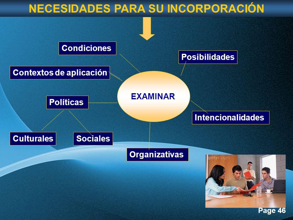 Page 46 EXAMINAR Posibilidades Intencionalidades Organizativas Políticas CulturalesSociales Contextos de aplicación Condiciones NECESIDADES PARA SU INCORPORACIÓN