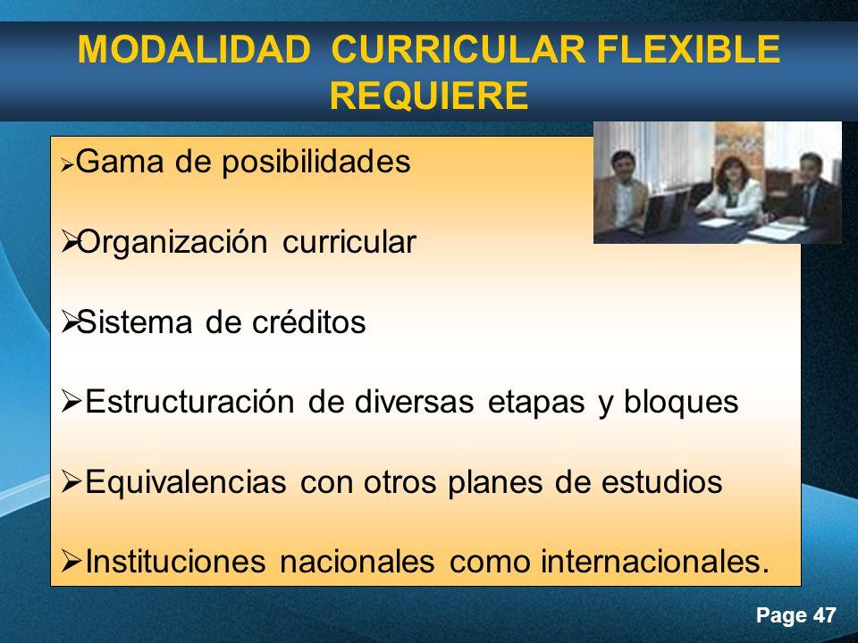 Page 47 Gama de posibilidades Organización curricular Sistema de créditos Estructuración de diversas etapas y bloques Equivalencias con otros planes de estudios Instituciones nacionales como internacionales.