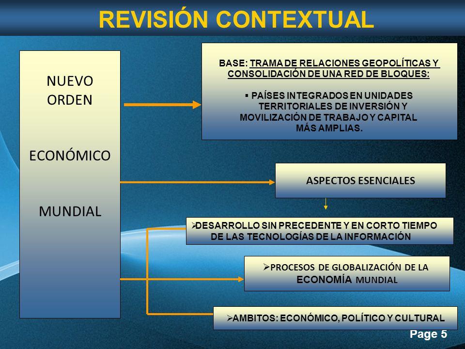 Page 5 NUEVO ORDEN ECONÓMICO MUNDIAL BASE: TRAMA DE RELACIONES GEOPOLÍTICAS Y CONSOLIDACIÓN DE UNA RED DE BLOQUES: PAÍSES INTEGRADOS EN UNIDADES TERRITORIALES DE INVERSIÓN Y MOVILIZACIÓN DE TRABAJO Y CAPITAL MÁS AMPLIAS.