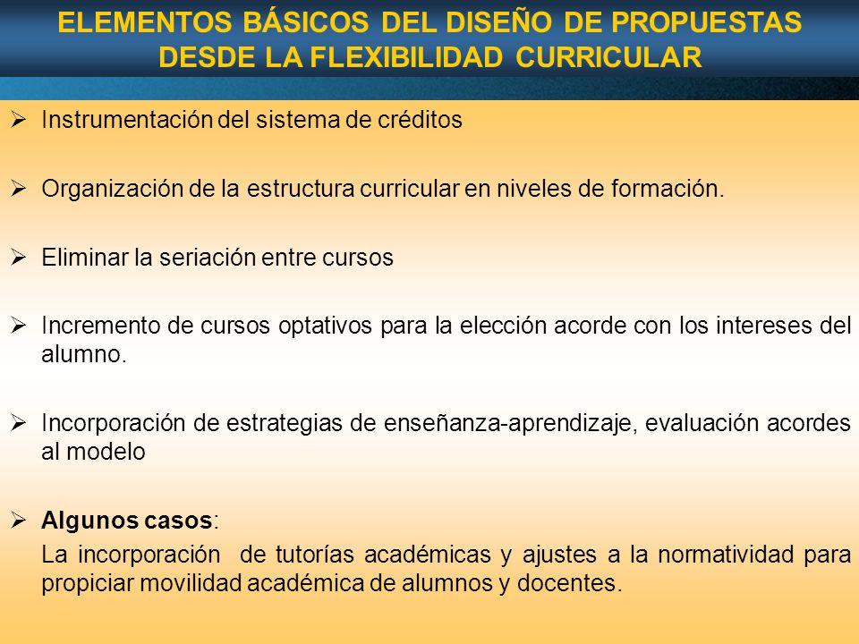 Page 52 Instrumentación del sistema de créditos Organización de la estructura curricular en niveles de formación.