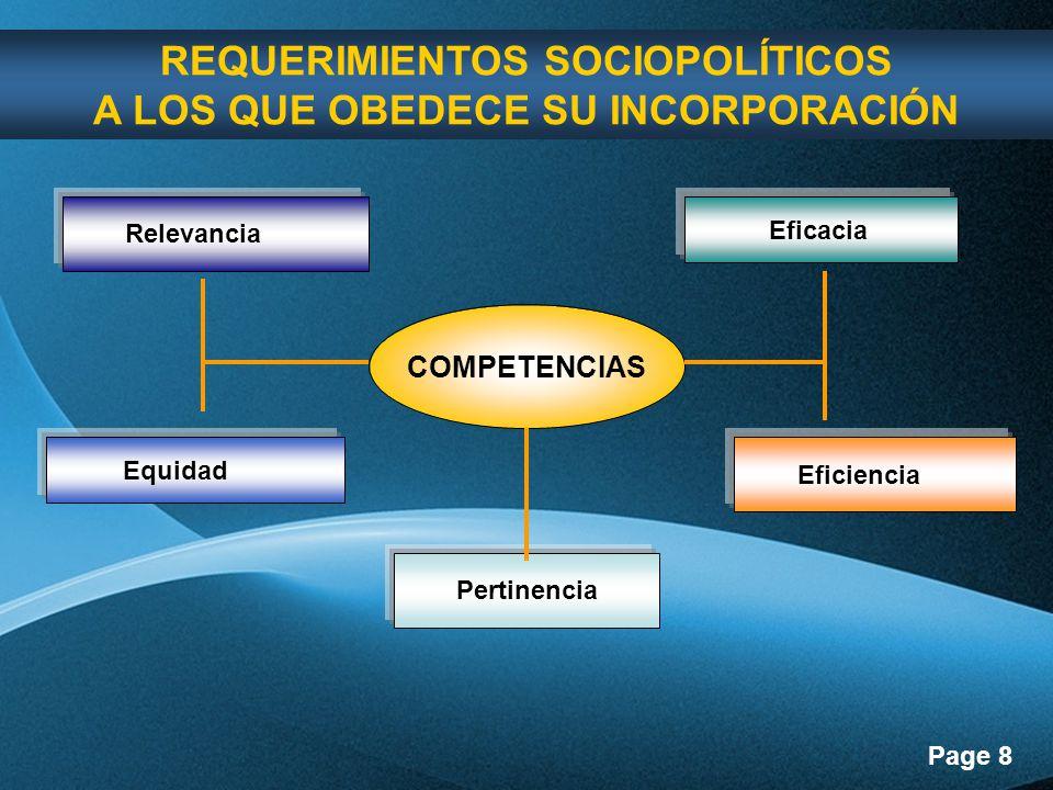 Page 8 REQUERIMIENTOS SOCIOPOLÍTICOS A LOS QUE OBEDECE SU INCORPORACIÓN Relevancia Eficacia Equidad Eficiencia Pertinencia COMPETENCIAS