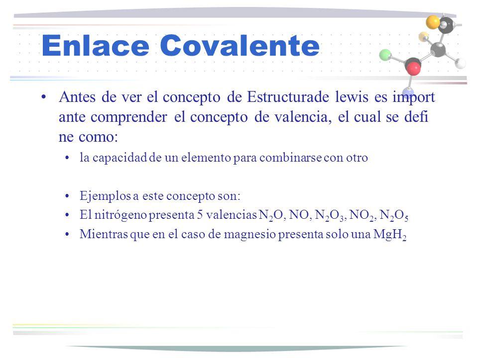 Enlace Covalente Antes de ver el concepto de Estructurade lewis es import ante comprender el concepto de valencia, el cual se defi ne como: la capacid