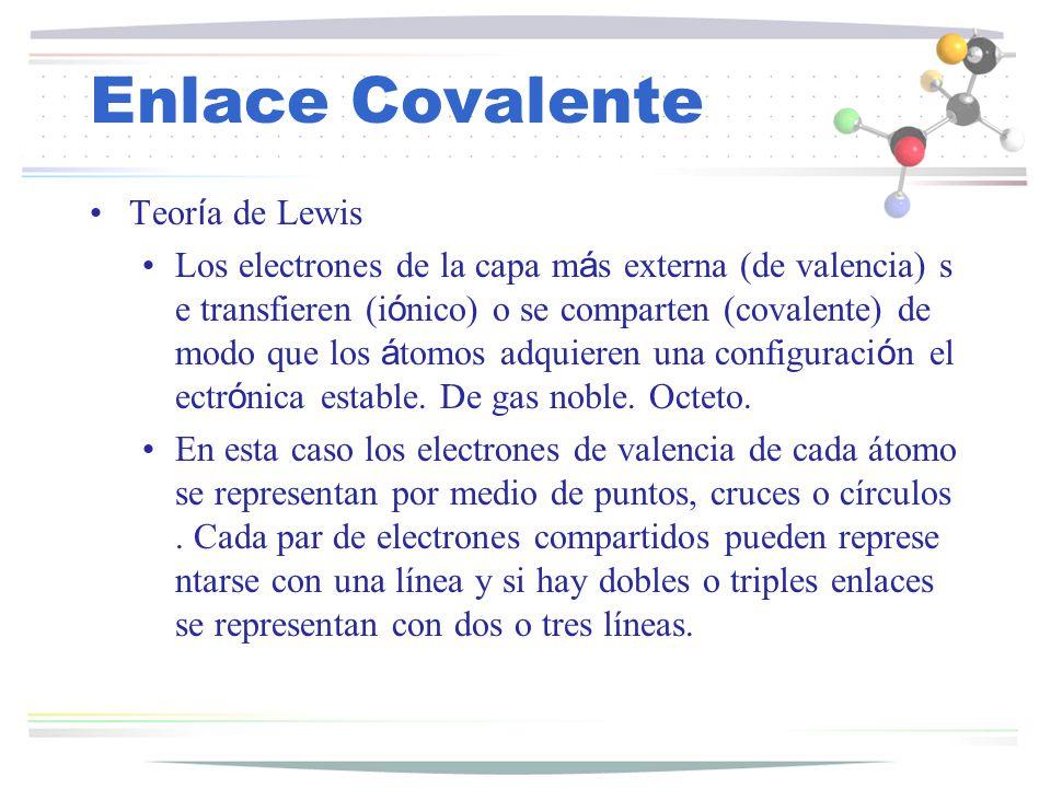 Enlace Covalente Teor í a de Lewis Los electrones de la capa m á s externa (de valencia) s e transfieren (i ó nico) o se comparten (covalente) de modo