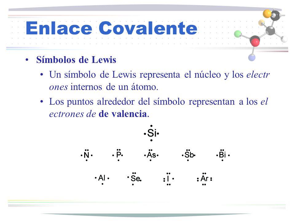 Enlace Covalente Símbolos de Lewis Un símbolo de Lewis representa el núcleo y los electr ones internos de un átomo. Los puntos alrededor del símbolo r