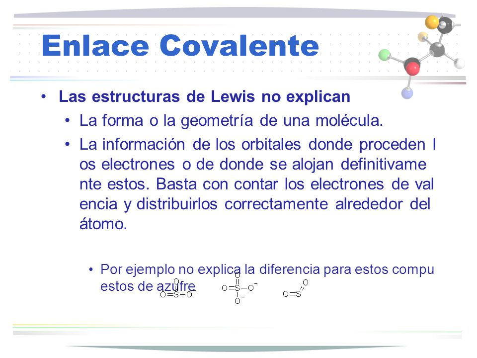 Enlace Covalente Las estructuras de Lewis no explican La forma o la geometría de una molécula. La información de los orbitales donde proceden l os ele