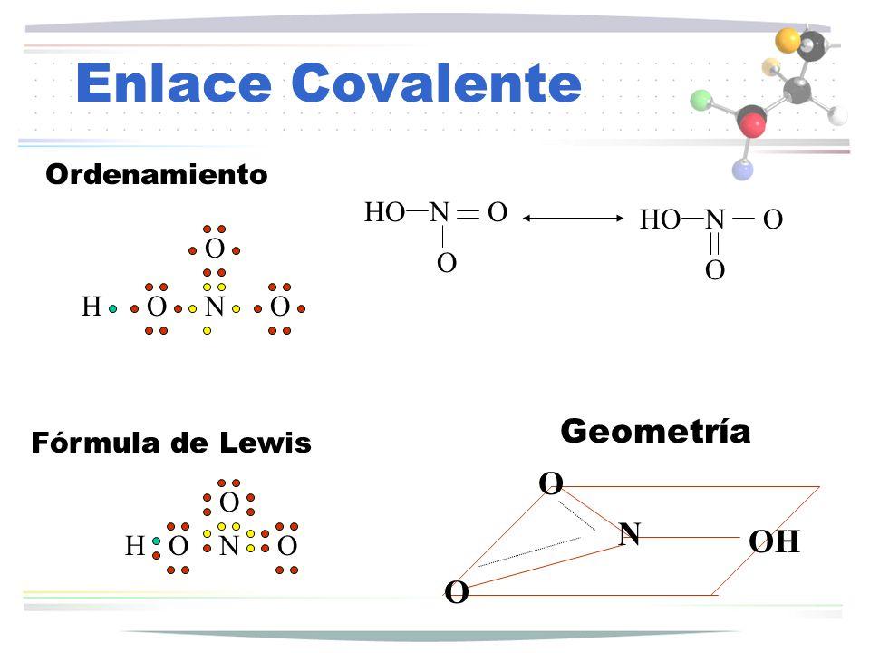 Enlace Covalente HONO O Ordenamiento HONO O Fórmula de Lewis N O O OH Geometría HONO O NO O