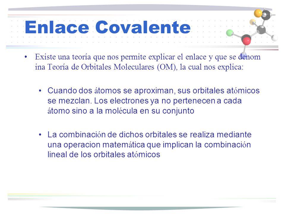 Enlace Covalente Por ejemplo se tiene dos orbitales s (molécula de Hidrogeno), de acuerdo a OM tenemos dos ecuaciones una de antienlace y otra de enlace.