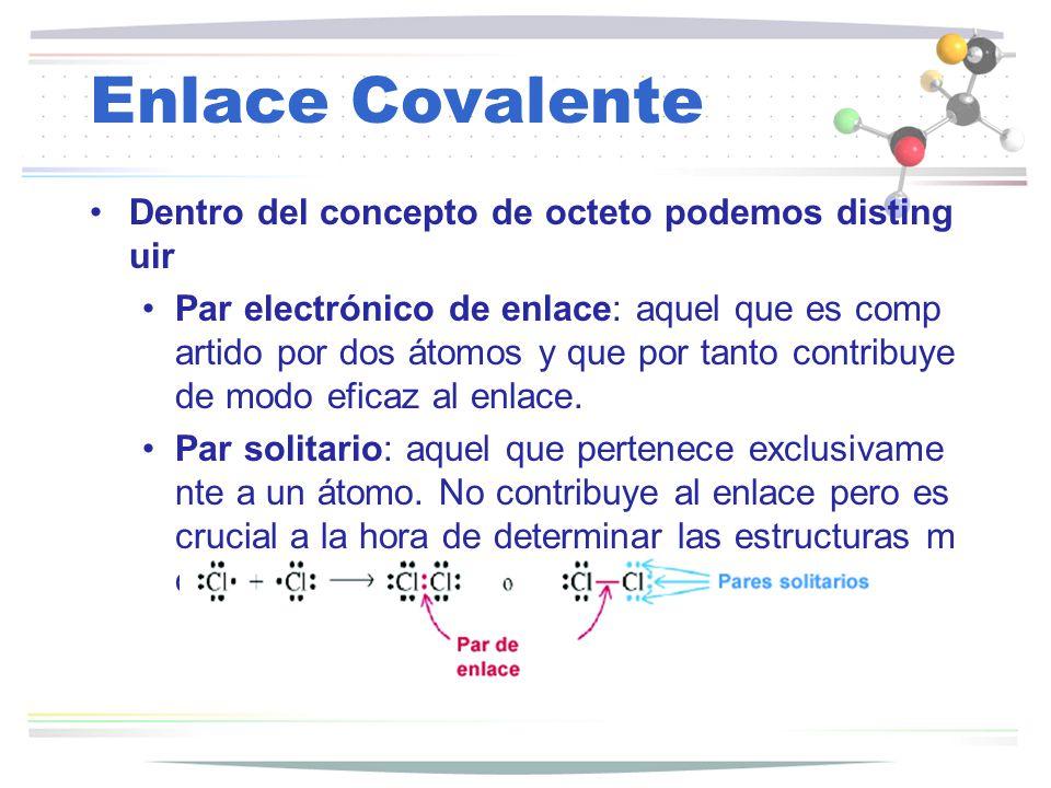 Dentro del concepto de octeto podemos disting uir Par electrónico de enlace: aquel que es comp artido por dos átomos y que por tanto contribuye de mod