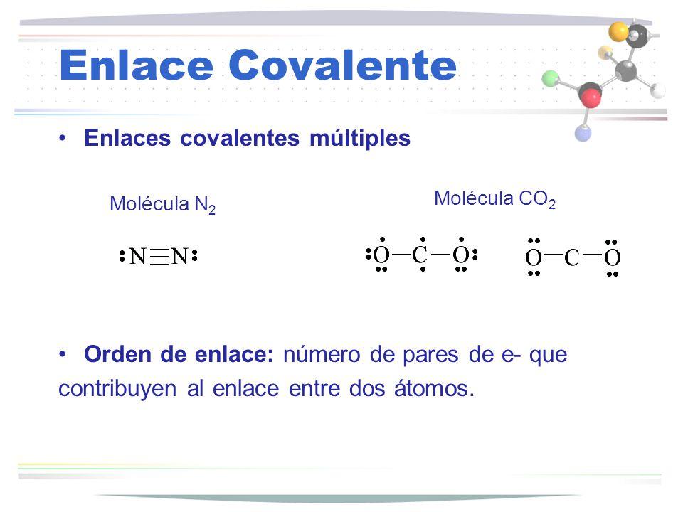 Enlaces covalentes múltiples Molécula N 2 Molécula CO 2 Orden de enlace: número de pares de e- que contribuyen al enlace entre dos átomos.