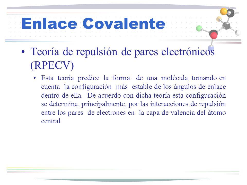 Enlace Covalente Teoría de repulsión de pares electrónicos (RPECV) Esta teoría predice la forma de una molécula, tomando en cuenta la configuración má