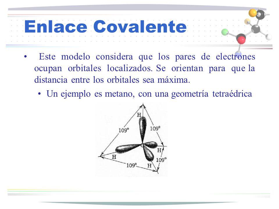Enlace Covalente Este modelo considera que los pares de electrones ocupan orbitales localizados. Se orientan para que la distancia entre los orbitales