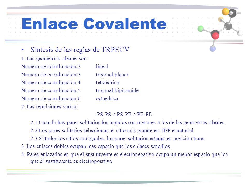 Enlace Covalente Sintesis de las reglas de TRPECV 1. Las geometrías ideales son: Número de coordinación 2lineal Número de coordinación 3trigonal plana