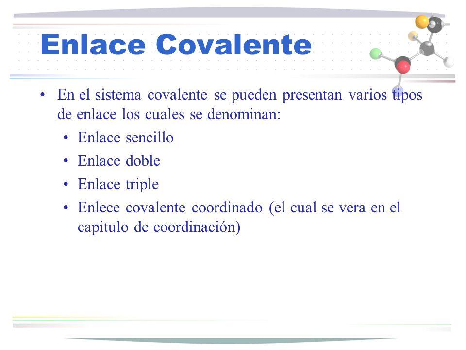 Enlace Covalente En el sistema covalente se pueden presentan varios tipos de enlace los cuales se denominan: Enlace sencillo Enlace doble Enlace tripl