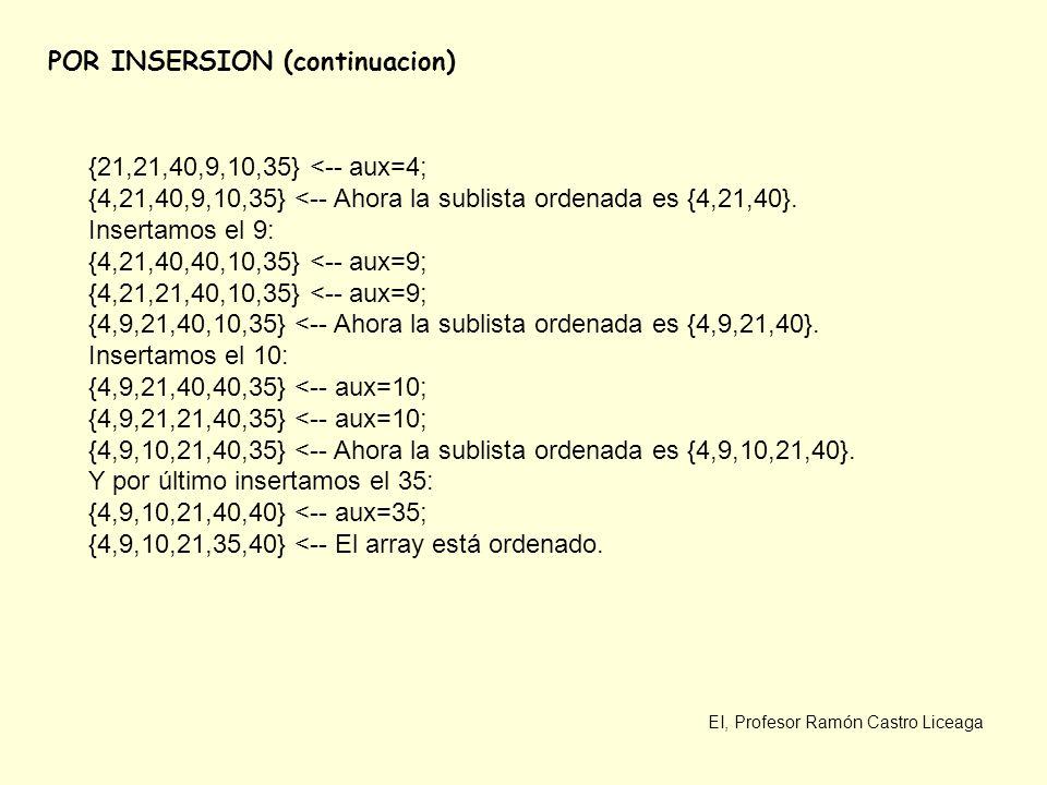 EI, Profesor Ramón Castro Liceaga POR INSERSION (continuacion) {21,21,40,9,10,35} <-- aux=4; {4,21,40,9,10,35} <-- Ahora la sublista ordenada es {4,21