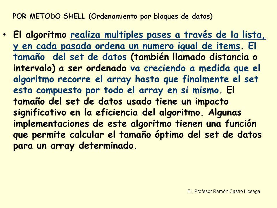 EI, Profesor Ramón Castro Liceaga POR METODO SHELL (Ordenamiento por bloques de datos) El algoritmo realiza multiples pases a través de la lista, y en